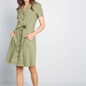 Modcloth Enthralled Again Pocket Shirt Dress S